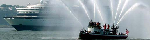 Fire boat, John J. Harvey spraying water