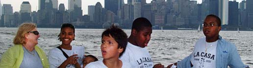 Young people on a harbor tour